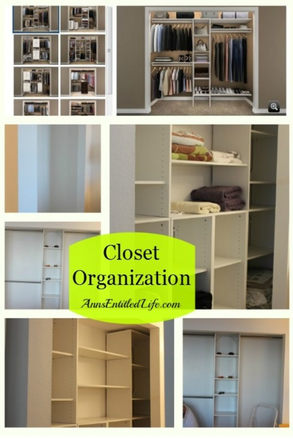 a collage of closet organization shelving, poles, and cubby holes
