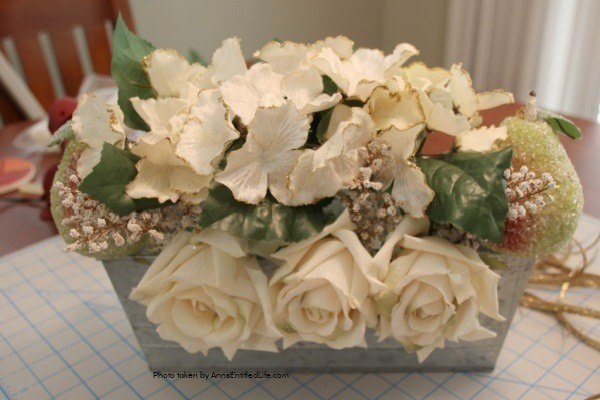 Winter Pear and Floral Table Centerpiece. This homemade pear and floral centerpiece is a 15-minute craft that is so easy to make! Using a little sparkle, a few elegant flowers, and a tad of rustic, this terrific tabletop decoration is at perfect for nearly any type of home décor.