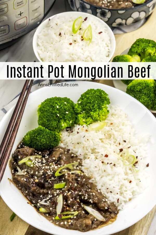 A white plate filled with Mongolian beef, rice, and broccoli, a set of chopsticks is resting on the right side of the plate. A bowl of white rice is above the plate, a bowl of broccoli is to the right, above that is a bowl of Mongolian beef. To the upper left of the rice bowl is an instant pot.