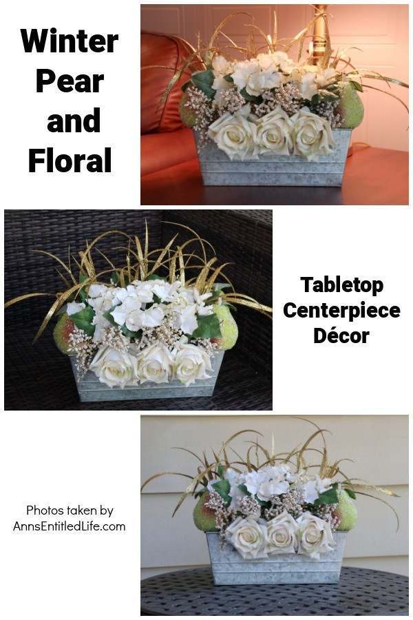 A collage of three photos of a rectangular galvanized tin filled with faux white floral, pears, and tall gold grass. The top photo is a side table, the middle photo is on a brown wicker chair, bottom photo is on an iron table