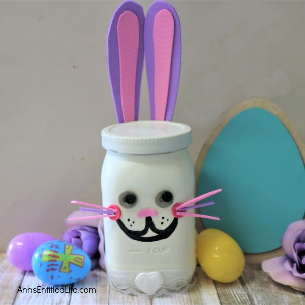 Easter Bunny Mason Jar Craft. Make an Easter bunny from a jar! This step-by-step tutorial will show you how to easily make a bunny out of a condiment jar that is perfect for a centerpiece, mantel decor, or table decorations this Easter. If you are looking for a simple, inexpensive Easter craft project, this is it!
