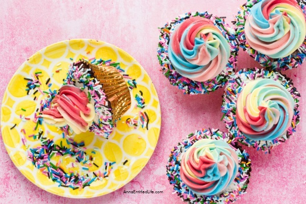 Rainbow Party Chocolate Cupcakes Recipe. If you are looking for an adorable dessert for a celebration, these Rainbow Party Chocolate Cupcakes are a perfect choice! Rich, decadent chocolate cupcakes are topped with a rainbow, classic buttercream frosting that is out of this world. This dessert is sure to be a crowd-pleaser, whether you are baking for a party or family and friends.
