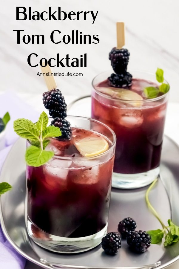 A blackberry Tom Collins garnished with blackberries, mint, and lemons againsta white background, set upon a silver tray. A second blackberry Tom Collins is in the background.