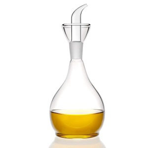 HAIZEEN 13ounce/ 380 ml Clear Glass Olive Oil Dispenser Bottle - Oil & Vinegar Cruet with Pourers and NO Funnel Needed - Olive Oil Carafe Decanter for Kitchen and BBQ