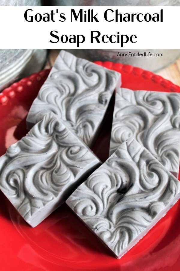 4 bars of goat's milk charcoal soap on a red plate, some tins are in the upper portion of the photo