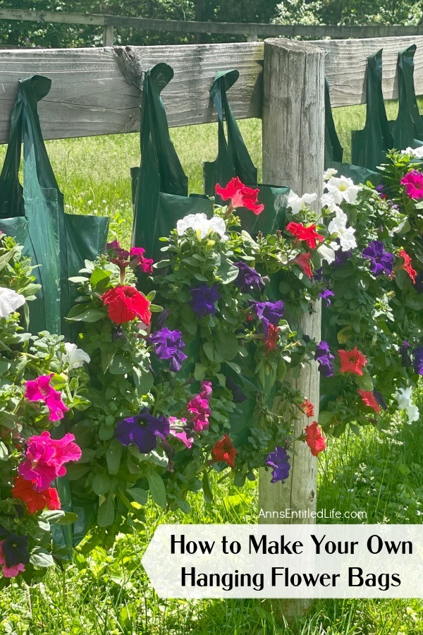Six hanging flower pouches filled with red, white, and purple petunias hanging on nails on a wooden fence