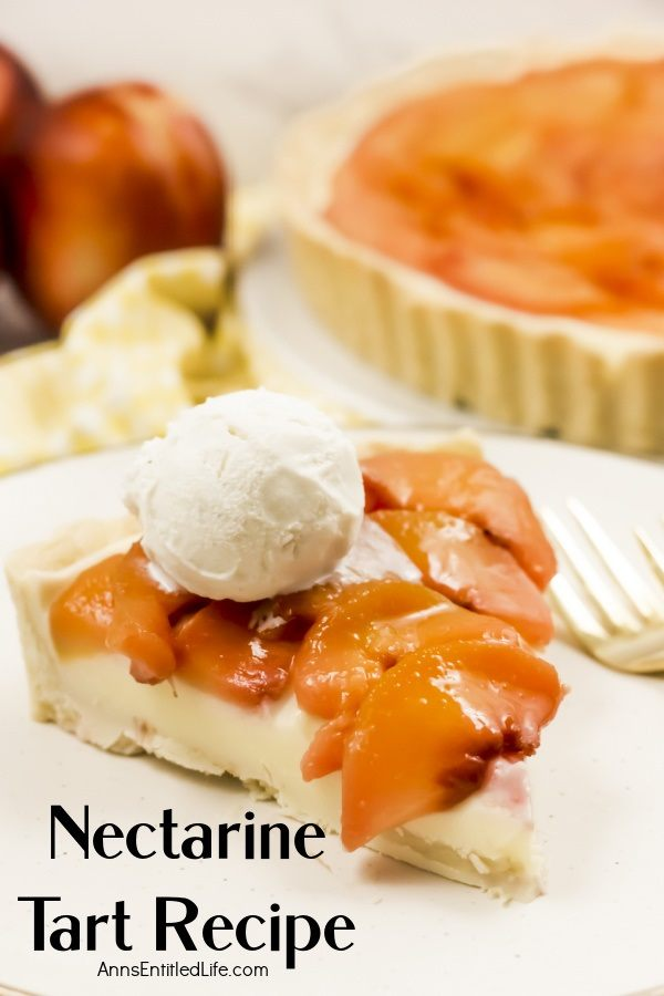 A piece of ala mode nectarine tart sits on a white plate. The rest of the tart is partially seen in the upper right, some fresh nectarines are in the upper left.