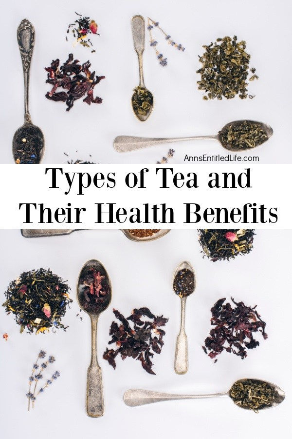 Various teas in piles and on teaspoons