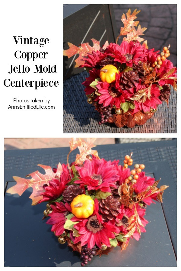 A collage of two images: front view of the centerpiece, and overhead view of the centerpiece on an outdoor iron table.